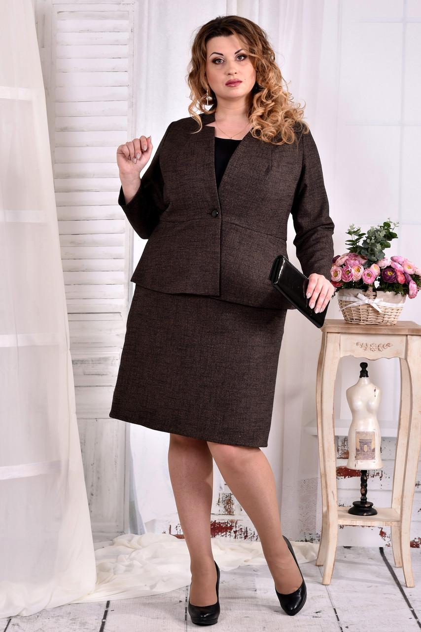 ea3454d724d Деловой костюм для полных женщин 0578 коричневый - V Mode