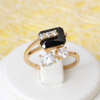 R1-2674 - Позолоченное кольцо с чёрным и прозрачными фианитами, 16.5, 17.5, 18 р