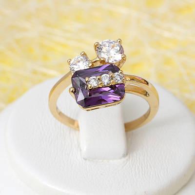 002-2675 - Позолоченное кольцо с фиолетовым и прозрачными фианитами, 16.5, 17.5, 18, 18.5 р