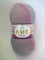 Пряжа Мохер Деликат КолорФлоу Нако, код 28088 розовый, голубой, сиреневый