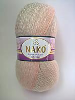 Пряжа Мохер Деликат КолорФлоу Нако, код 28090 коралово-молочный, бледо-зелёный