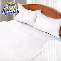 Белое постельное белье в полоску двуспальное