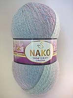 Пряжа Мохер Деликат КолорФлоу Нако, код 28095 розовый, сиреневый, голубой, синий