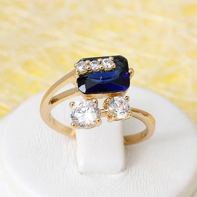 R1-2676 - Позолоченное кольцо с сапфирово-синим и прозрачными фианитами, 17.5, 18, 19 р