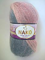 Пряжа Мохер Деликат КолорФлоу Нако, код 28098темно-светло-синий, желтый, сиреневый, розовый