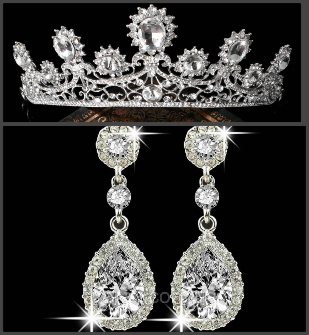 Корона и серьги РУБИНА СЕРЕБРО набор тиара свадебная диадема тиары свадебные b801f2ee620