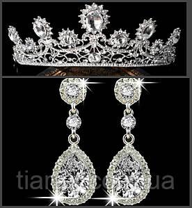 Корона и серьги РУБИНА СЕРЕБРО набор тиара свадебная диадема тиары свадебные