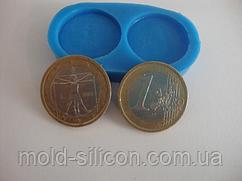 """Силиконовый молд """"Монеты 1 евро"""""""