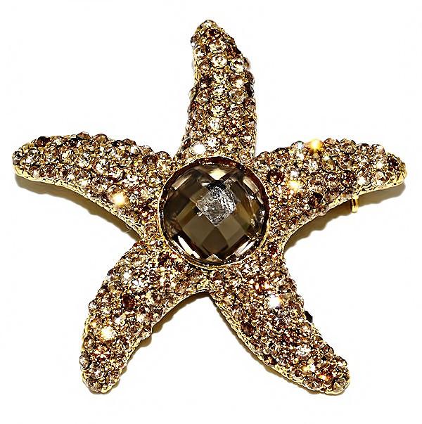 Брошка фирмы Neoglory. Цвет: позолота. Камни: жёлтый и коричневый циркон. Диаметр: 5 см.