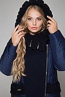 М-606 Двубортное зимнее комбинированное пальто