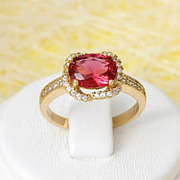 002-2678 - Позолоченное кольцо с рубиновым и прозрачными фианитами, 16.5 р
