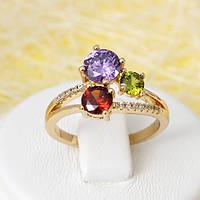 R1-2681 - Позолоченное кольцо с яркими цветными и прозрачными фианитами,  17 р