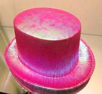 Шляпа цилиндр розовый