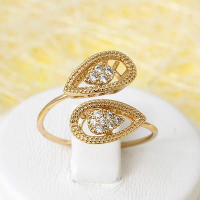 002-2684 - Позолоченное кольцо с прозрачными фианитами, размеры в описании