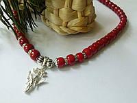 Бусы из натурального коралла и серебряная подвеска Ангел