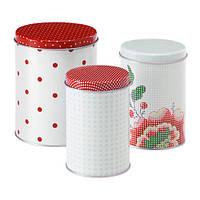ИНБЬЮДАНДЕ Набор емкостей, 3 штуки, точечный, цветок квадраты, 50303387, ИКЕА, IKEA, INBJUDANDE