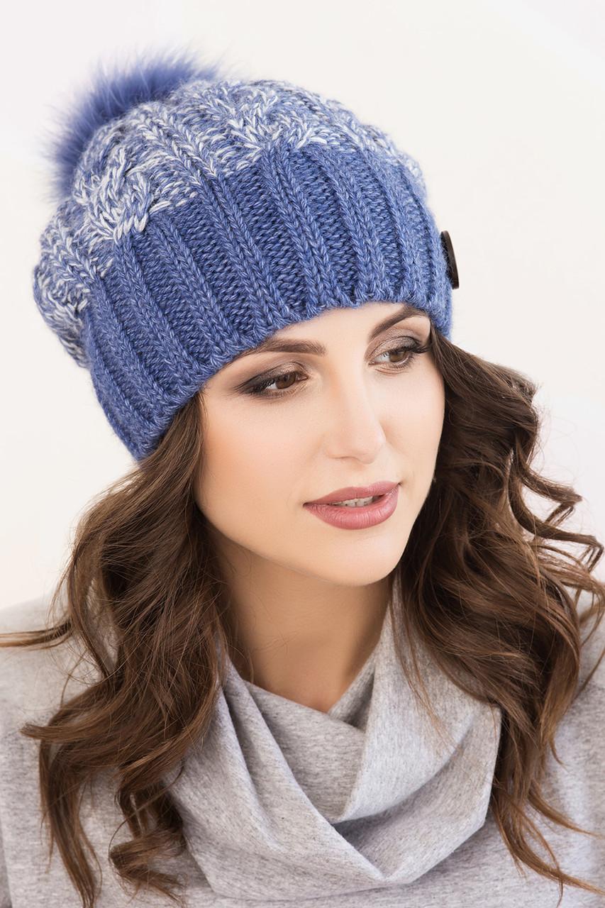 Женская шапка меланж «Клеопатра» с цветным песцовым помпоном
