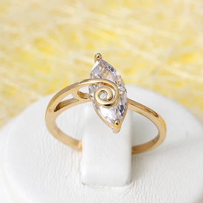 R1-2685- Позолоченное кольцо с прозрачным фианитом, 16.5 р