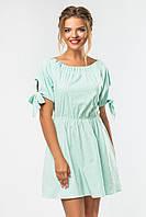 Летнее платье выше колен в зеленую полоску с бантиками на рукавах