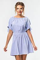 Летнее платье выше колен в синюю полоску с бантиками на рукавах