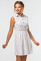 Летнее короткое женское платье-рубашка без рукавов Узоры на белом