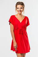 Красное платье до колена с запахом и коротким рукавом
