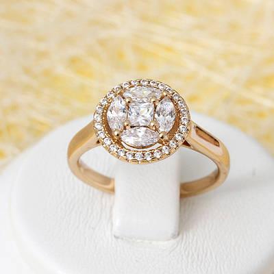 002-2687- Позолоченное кольцо с прозрачными фианитами, 17, 18 р