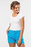Летние женские шорты с оригинальными карманами бирюзовые