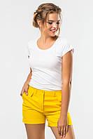 Летние женские шорты с оригинальными карманами желтые