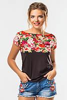 Модная женская футболка с ярким принтом Цветы на черном