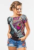 Модная женская футболка с ярким принтом Перо