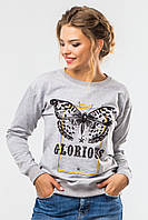 Серый женский свитшот с бабочкой Glorious