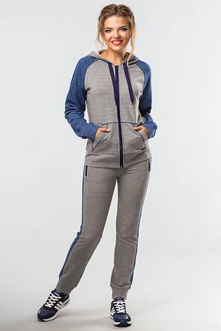 Женский спортивный костюм Комфорт с кофтой на молнии серо-синий, фото 2