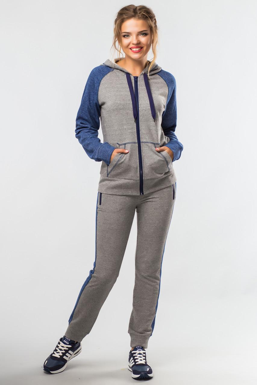 Женский спортивный костюм Комфорт с кофтой на молнии серо-синий