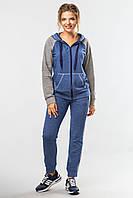 Женский спортивный костюм Комфорт с кофтой на молнии сине-серый