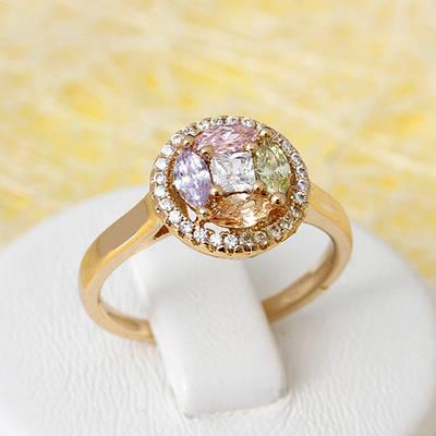 R1-2688- Позолоченное кольцо со светлыми цветными прозрачными фианитами, 17, 17.5, 19 р