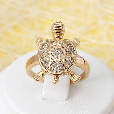 002-2690 - Позолоченное кольцо Черепашка с прозрачными фианитами, 16.5, 17 р