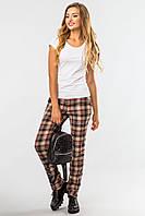 Модные женские классические брюки в коричневую клетку