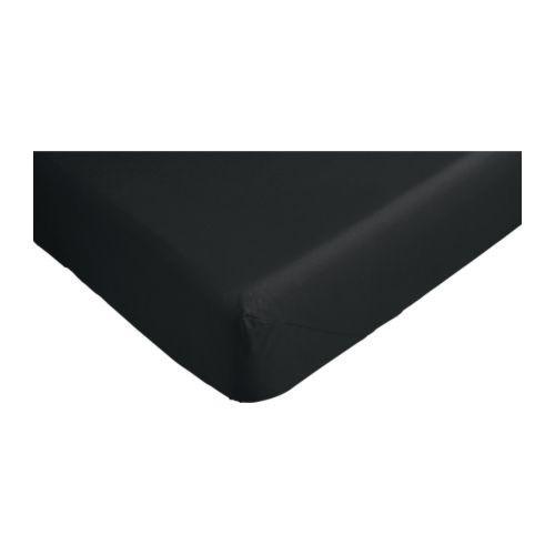 ДВАЛА Простыня натяжная, черный, 140х200, 80145834, IKEA, ИКЕА, DVALA