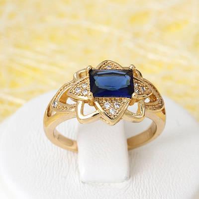 R1-2693 - Позолоченное кольцо с сапфирово-синим и прозрачными фианитами, 16, 17, 17.5, 18.5 р