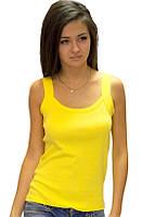 Бесшовная желтая майка женская без рисунка трикотажная (безшовна) хб хлопковая летняя Украина 50