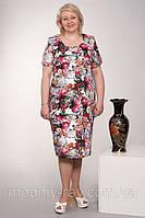 Красивое батальное платье в цветочный принт