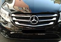 Накладки на решетку (5 шт, нерж) Вито 447 (Mercedes Vito / V W447 2014+ гг.)