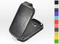 Откидной чехол из натуральной кожи для Samsung G110 Galaxy Pocket 2