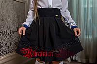 Красивая черная школьная детская  юбка-клеш с кружевом