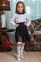 Красивая черная школьная детская  юбка-клеш с сеткой