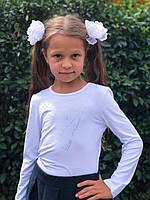 Блузка школьная трикотажная, длинный рукав. Цветы., фото 1