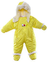 Детский комбинезон трансформер для новорожденных зимний (желтый)