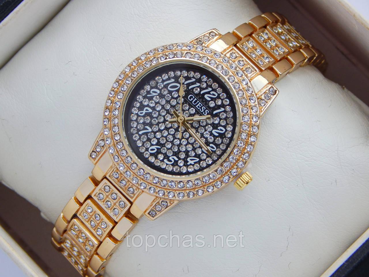 d1d56a5f Женские кварцевые наручные часы Guess в стразах - черный циферблат - Top  Chas - Интернет магазин