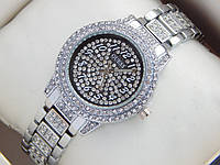 Женские кварцевые наручные часы Guess в стразах - серебро, черный циферблат, фото 1